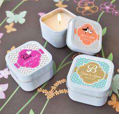 Personalized Square Theme Candle Tins wedding favors
