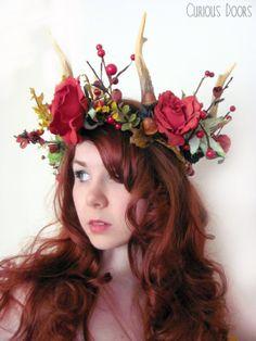 Vegan Friendly Antler Flower Headdress - Art nouveau, autumnal, fantasy, LARP, goddess, fae, forest