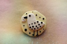 """Brooch of polymer clay """"Bird post pigeon"""" by StudioTort on Etsy"""