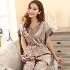 5c4bf735e04 Summer 2016 Women Sexy Silk Pajamas Fashion Solid Color Sleep set V neck  Short sleeves Silk Plus Size Lounge Female Sleep Tops-in Pajama Sets from  Women s ...
