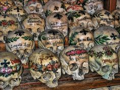 Hallstatt, Austria    The Hallstatt graveyard is so small, that after 12 years they would dig up the bones, decorate them, and put them in the chapel. Some of the bones date back to the 1600s