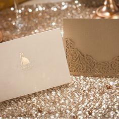 Classic Bride And Groom Laser Cut Wedding Cards IWSM007