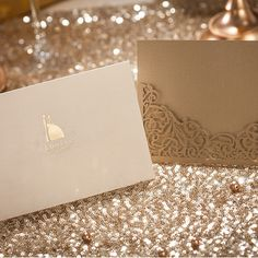 modern elegant metallic brown laser cut wedding invitations EWWS007 as low as $1.99 |