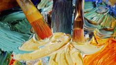 three brushes acrylic paint canvas tests wide hd wallpaper
