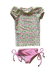 Kimi & Li Bikini Puff Sleve Rash Guard Set in Pretty in Pink