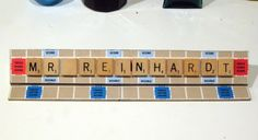 Scrabble board and tiles made into a desk name plate