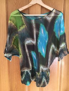 616a306ea14 Et Vous Silk Colourful Green Blue Sheer Batwing Tunic Top #fashion  #clothing #shoes