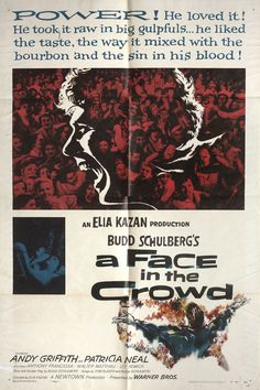Directed by Elia Kazan. With Andy Griffith, Patricia Neal, Anthony Franciosa, Walter Matthau. An Arkansas drifter becomes an overnight media sensation. As he becomes drunk with fame and power, will he ever be exposed as the fraud he has become? Best Horror Movies, Sci Fi Movies, Movies To Watch, Bennett Cerf, Lee Remick, Patricia Neal, Walter Matthau, Elia Kazan, Country Western Singers