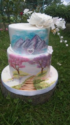 Hand painted landscape by Blacksun - http://cakesdecor.com/cakes/254771-hand-painted-landscape