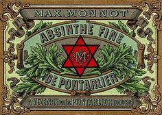 Absinthe Poster of a label with Masonic symbolism for Absinthe Monnot; original poster size 10 x 6cm.