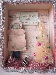 Winter's Day Shadowbox Vintage Christmas Crafts, Christmas Card Crafts, Shabby Chic Christmas, Victorian Christmas, Christmas Projects, Handmade Christmas, Holiday Crafts, Christmas Decorations, Christmas Ornaments