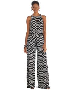 43d392adc954 White House | Black Market Sleeveless Printed Wide Leg Jumpsuit #whbm