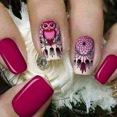 Tener un buen sueño con estas uñas Dreamcatcher Owl Nail Designs, Cute Nails, Pretty Nails, Indian Nails, Dream Catcher Nails, Owl Nails, Owl Nail Art, Girls Nails, Nagel Gel