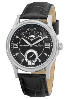 Price:$466.39 #watches Grovana 1715.1537, Grovana is a firm that has made a name for itself in the Swiss watch making industry through innovation and flexibility. Up to the 1970s it made mechanical watches that were always state of the art. Black Quartz, My Pocket, Mechanical Watch, Watches For Men, Wrist Watches, Men's Watches, Stainless Steel Case, Quartz Watch, Black Leather