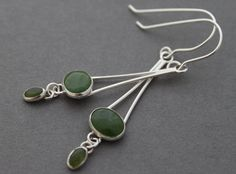 Sterling and Nephrite Jade Earrings  Illuminating by tladesigns