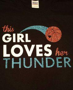 This Girl Loves Her Thunder OKC lets go thunder Okc Basketball, Oklahoma City Thunder Basketball, Basketball Quotes, Just Love, Love Her, Thunder Strike, Sports Shirts, Sports Teams, Words