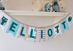 Personalised padded name bunting - in teal, beige, aqua, white by DownGrapevineLane on Etsy https://www.etsy.com/listing/160936650/personalised-padded-name-bunting-in-teal