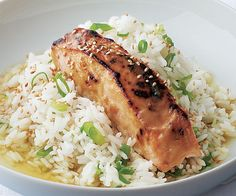 Miso-Glazed Salmon with Green Tea Rice (substitute brown rice)