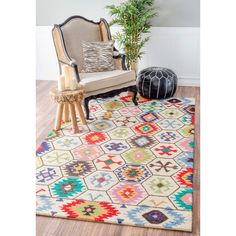 Give your room a warm country feeling with this beautiful area rug. Handmade with 100% wool, this rug features a durable and plush pile suitable for high traffic areas.s.