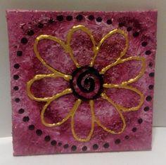 Dim Sun Artwork, mini design canvas, pink sand art, gold flower, textured acrylic, by AranaARTnDESIGN on Etsy