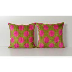 Pink Polka Dot Pillow Ikat Pillow Set Pink Green Pillow Decorative... (140 CAD) ❤ liked on Polyvore featuring home, home decor, throw pillows, decorative pillows, grey, home & living, home décor, green throw pillows, gray accent pillows and grey accent pillows