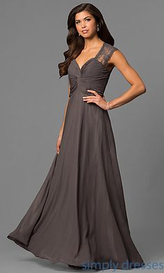 Shop classic floor-length formal gowns and long lace prom dresses at Simply Dresses. Long lace evening gowns with ruched v-neck bodices.