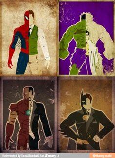 Spiderman/Peter Parker, The Hulk/Bruce Banner, Iron Man/Tony Stark, Batman/Bruce Wayne (narrative writing prompt, create an alter ego)