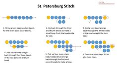 Learn St. Petersburg Stitch with stitch diagram   ~ Seed Bead Tutorials