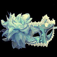 Pure Blue Flower Purfle Plástico Máscara meio rosto –