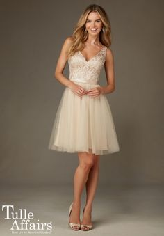 Bridesmaids Dress 133 Tulle with Embroidery and Beading with Satin Waistband