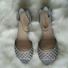 Bamboo Glam Flats A simply glam open-toe flat, featuring a glittering metallic mesh body, and iridescent trim.  Buckled ankle strap. Covered heel. Low flat heel. New with box.   No Trades No Paypal bamboo Shoes Flats & Loafers