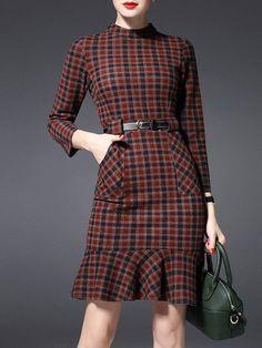 Shop Mini Dresses - Multicolor Long Sleeve Pockets Checkered/Plaid Mini Dress online. Discover unique designers fashion at StyleWe.com.