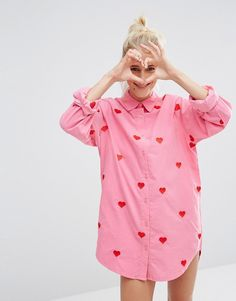 Image 1 ofLazy Oaf Oversized Boyfriend Shirt With Hearts In Corduroy