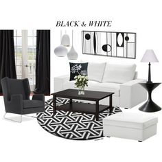 """My Black  White Living Room"" cimino68 on Polyvore"