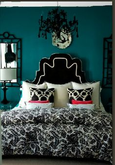 """Sherwin Williams """"Blue Peacock""""--for the paint color, not all the decor - Guest room downstairs"""