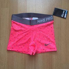 Neon Pink  Dark Gray Nike Pros with White  Dark Gray Polka Dots