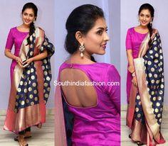 Madhu Shalini in a pink salwar and banaras silk dupatta Indian Formal Wear, Silk Dupatta, South India, India Fashion, Blouse Designs, Party Wear, Sari, Pink, How To Wear
