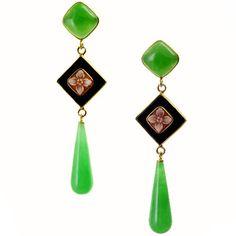Earrings Green Decò Model MO70 Earrings in gold-plated silver, cameo, jade, onix.