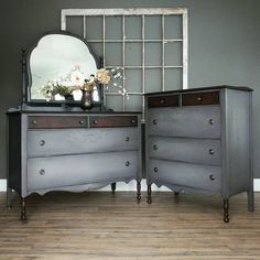 """*SOLD* This is a great matching dresser set in greige with soft highlights and a little extra wood detail on the small drawers and front legs. Selling as a set only for now, $725 for both. The mirror one measures 22x48, 36"""" tall (71"""" top of mirror) and the other is 20.5x36, 45"""" tall. -Tara #modernvintage #bedroom #dressers #homedecor #vintagedecor from #akronoh to #cantonoh to #hartvilleoh #ohio"""
