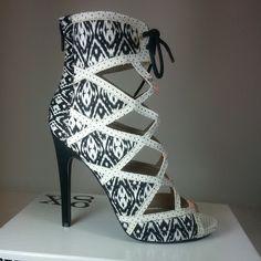 Tribal Open toe Lace up Pump Stiletto #Heels