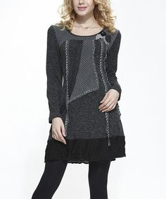 Another great find on #zulily! Black Patchwork Dress by Simply Couture #zulilyfinds