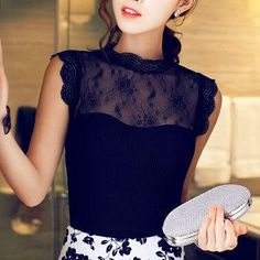 Vintage Lace Chiffon Blouse Gender: Women Decoration: Lace Clothing Length: Regular Sleeve Style: Regular Fabric Type: Chiffon Material: Cotton, Polyester Collar: Stand Sleeve Length: Sleeveless NOTE:
