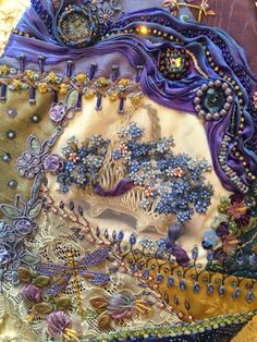 A crazy quilt creatiion with Shibori ribbon by Pat Winter. STUNNING Be sure to click and get a larger image to really see the fine skilled needlwork accomplished here.