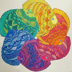 Fishies #milliemarotta #milliemarottatropicalwonderland #tropicalwonderland #tropicalwonderlandcolouringbook #allofthecolours #rainbow #adultcoloringbook