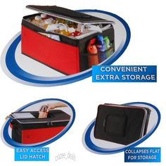 Coleman 48 Can Collapsible Cooler Picnic Tailgate BBQ Party Black & Red NEW #Coleman