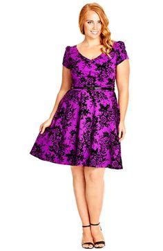 City Chic Rose Flocked Skater Dress (Plus Size) | Nordstrom