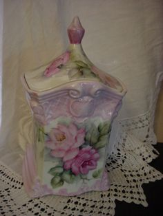 Hand painted canister by Joye Hinton. Painted on all sides, contact me at jvh3@bellsouth.net or on facebook.