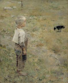 Akseli Gallen-Kallela (1865-1931). Poika ja varis