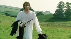 After the swim, Colin Firth in a wet shirt. Pride and Prejudice 1995. Image @JaneAustensWorld