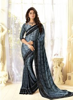 Grey Saree, Fancy Fabric Saree, Buy latest Saree with custom stitching and worldwide shipping. Indian Sarees Online, Buy Sarees Online, Grey Saree, Latest Sarees, Party Wear Sarees, Designer Sarees, Fabric Design, Fancy, Clothes For Women
